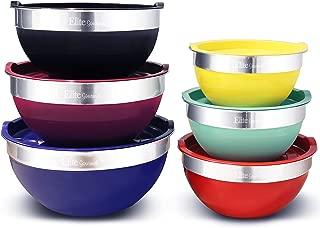Elite Gourmet EBS-0012 Maxi-Matic 12Piece Stainless Steel Color Mixing Bowls with Lids, 7.25 Qt. - 6 Qt. – 3.5 Qt. – 3 Qt. – 2.25 Qt. – 2 Qt