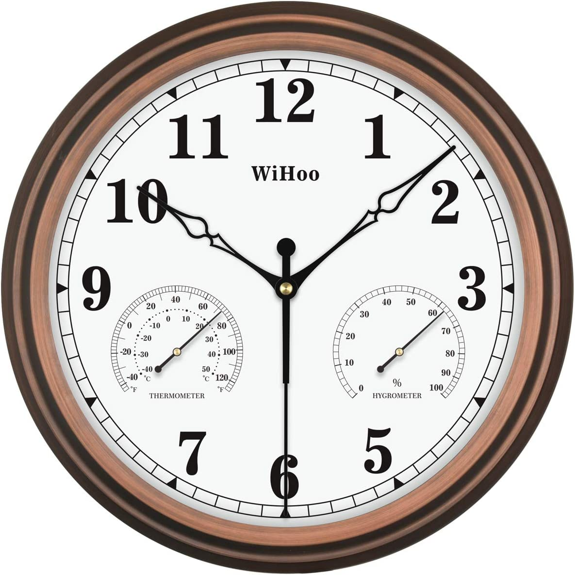 Popular popular WiHoo 15 Inch Silent Outdoor and List price with Hygrome Clocks Thermometer