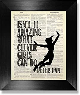 Isn't It Amazing What Clever Girls Can Do, Peter Pan Quote Poster Wall Art Print, Inspirational Gift for Baby Little Teen Girl Room Decor, Black and White Illustration Dictionary Page Artwork