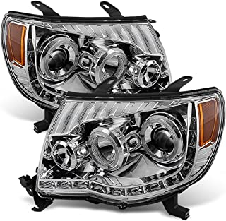 ACANII - For 2005-2011 Toyota Tacoma LED DRL Halo Projector Headlights Headlamps 05-11 Driver + Passenger Side
