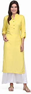 Pret a Porter Yellow Colored Stitched Indian Rayon Kurti With Palazzo