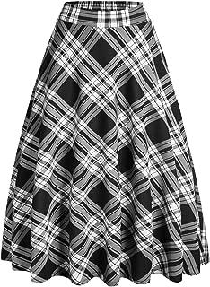 IDEALSANXUN Women's Elastic High Waist A-line Linen Midi Pleated Skirt with Pocket