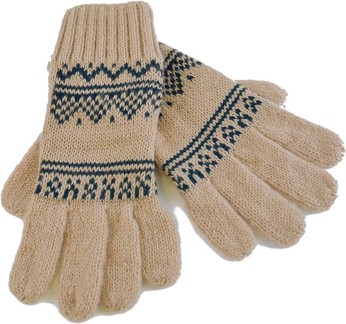Rjm Women's Knitted Winter Gloves with Fairisle Design