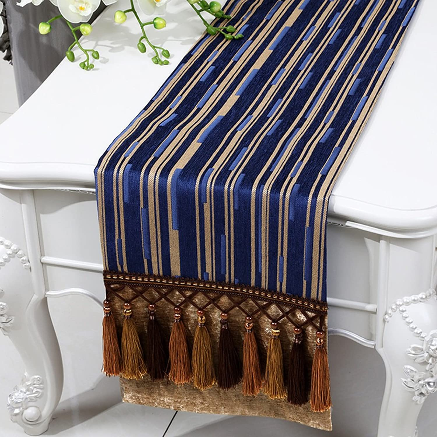 BSNOWFTable Runner Table Runner Stripe Insulation Resistant Dirty With Tassels Tablecloth Table Mat European Style Classical Simple Modern ( color   Royal bluee , Size   33300cm )