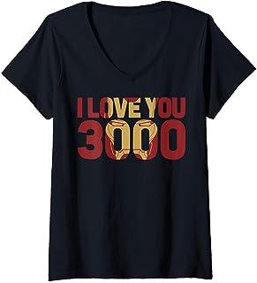 Mujer Marvel Avengers Endgame Iron Man I Love You 3000 Text Fill Camiseta Cuello V
