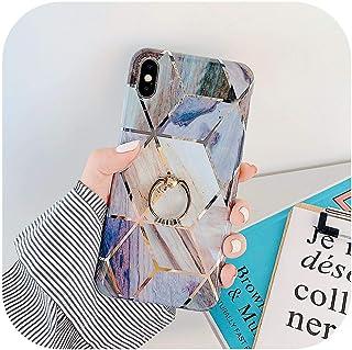 電話ケースfor iPhone 11プロXR XS最大6 6 s 7 8プラスXソフト電気メッキ幾何マーブルバックカバー(指輪付き)-q-for iPhone XR