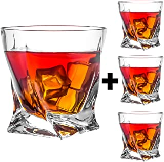 KAOWOD Whiskey Glasses Set of 4, Twisted Tumblers for Drinking-Bourbon,Rum,Brandy,Cocktail,Liqueur and More, Scotch Glasses,Luxury Gift for Birthdays Fathers Day