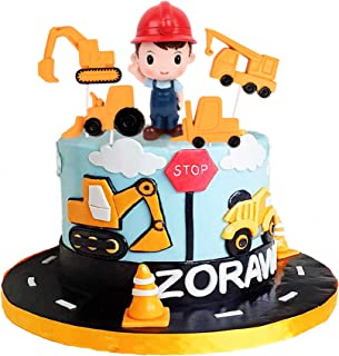Ercadio 5 Pack Resin 3D Construction engineer Cake Topper 2D Construction Vehicles Dump Truck Excavator Tractor Cupcake Pi...