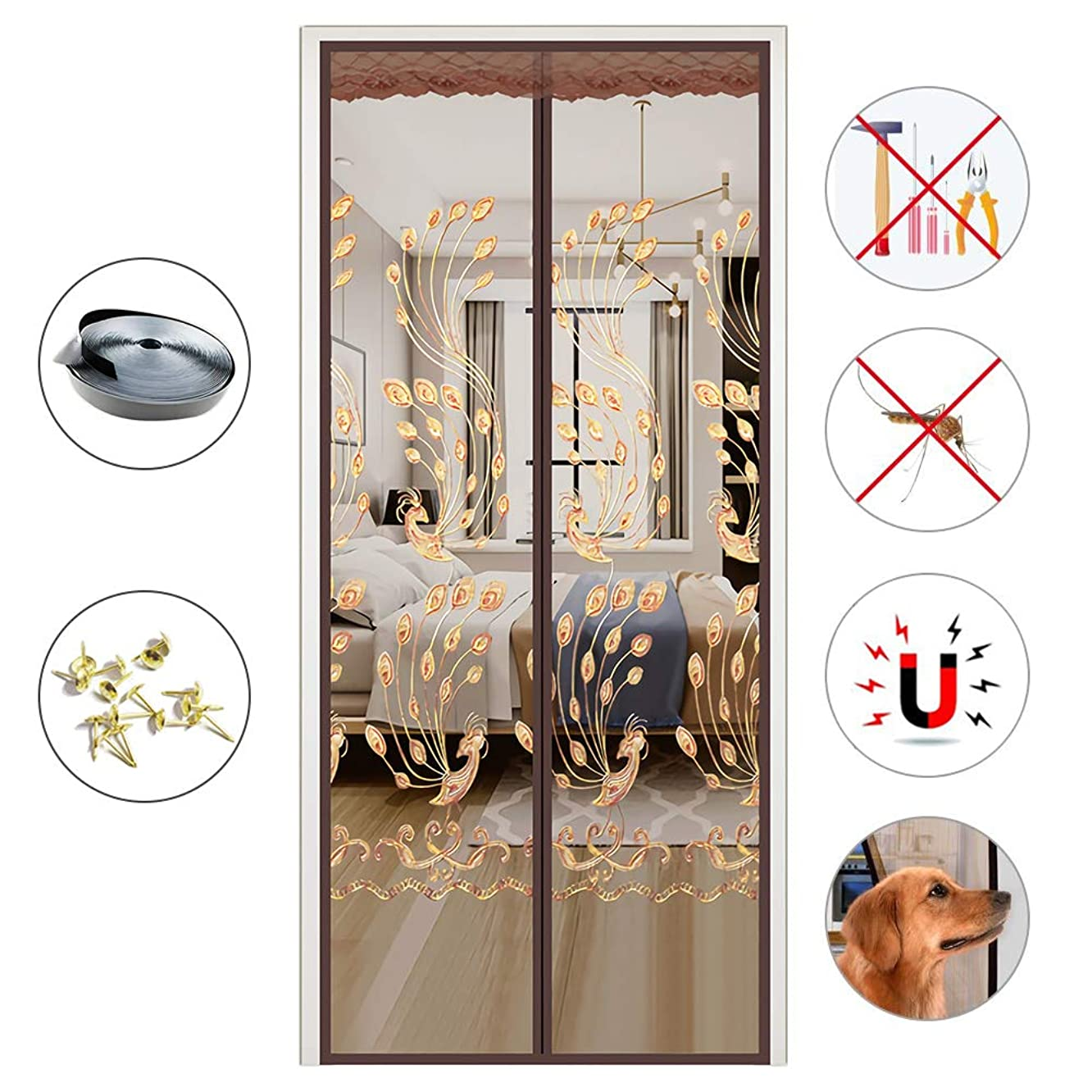 PeiQiH Magnetic Screen Door, Anti Mosquito Embroidery Mesh Curtain Magnets Self Closing Quiet Close Heavy Duty Full Frame Hook & Loop-Coffee 150x200cm(59x79in)