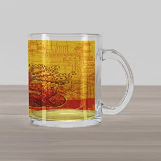 Lunarable Ethnic Glass Mug, Auto Rickshaw on Famous Monument Traditional Culture Artwork, Printed Clear Glass Coffee Mug Cup for Beverages Water Tea Drinks, Marigold and Red