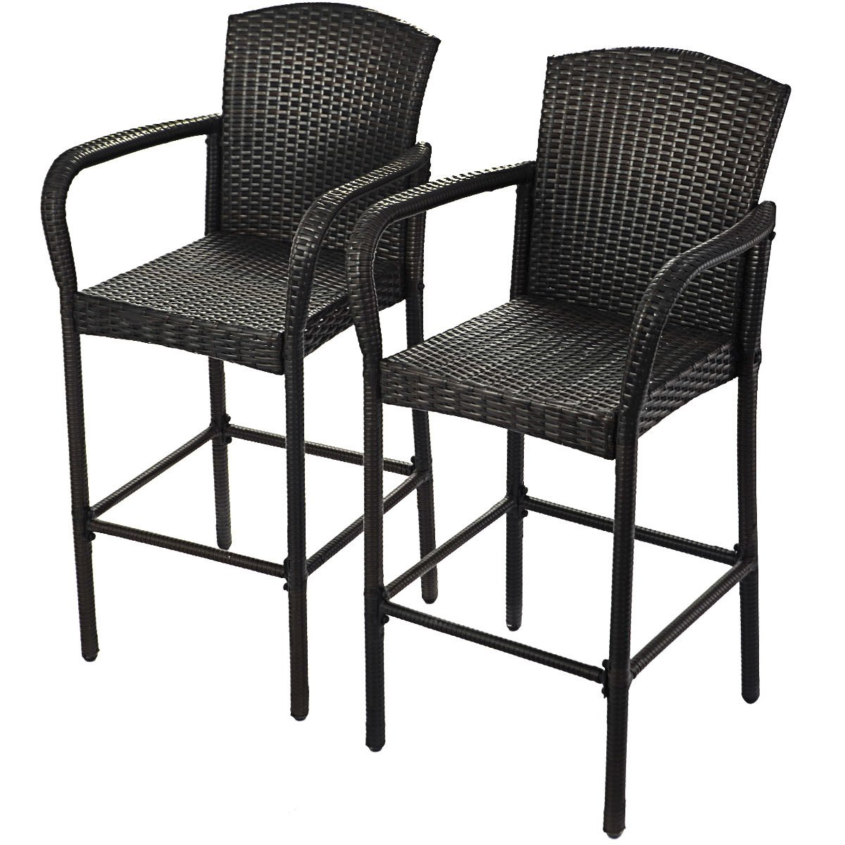 Indoor Outdoor Wicker Rattan Bar Stool with Footrest HAPPYGRILL 2pcs Patio Bar Stools