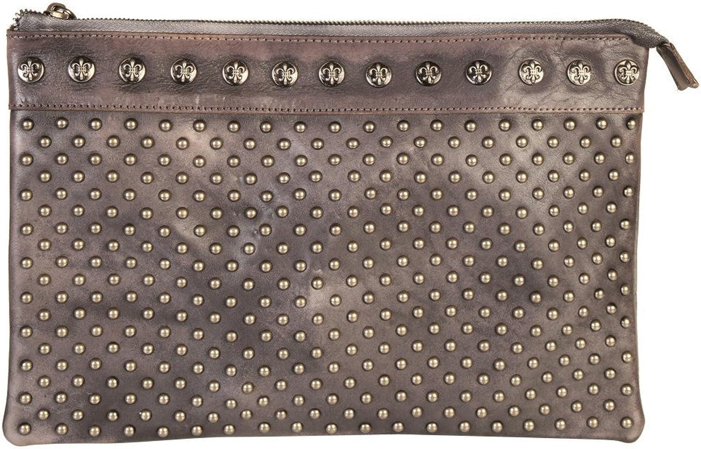 Diophy Genuine Leather Stylish Studded Zipper Clutch 150255 Black