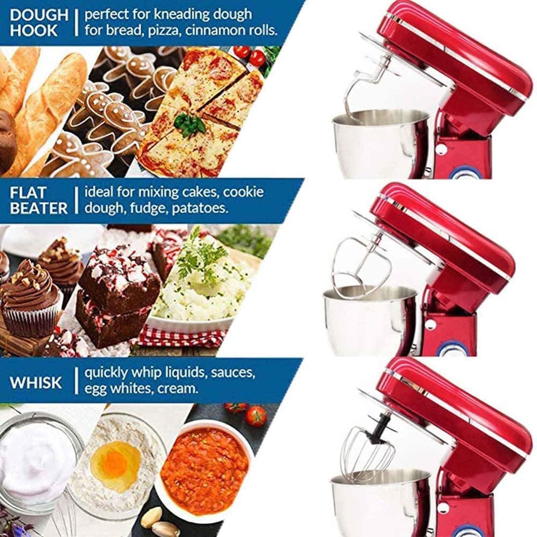 GYC Pétrin Pétrin Mélangeur de Cuisine électrique avec Crochet pour pétrir avec Bol Pétrin de Cuisine Pétrin Pétrin Mélangeur Rouge rouge