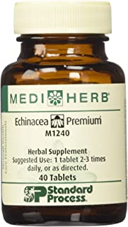 MEDIHERB echinacea premium standard process - Enhance Immune System Function - Support Healthy Immune System - Natural Ingredients - Organic Herbal Supplements - Made in the USA - 40 Tablets