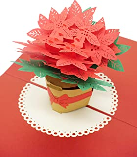 Poinsettia Flower Christmas 3D Pop Up Card, Premium Metallic Paper, Laser Cut Unique Style, Handmade Holiday Greeting Card With Envelope and 2 Layer Message Page