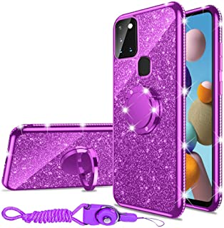 Samsung Galaxy A21S Case, Glitter Luxury Cute Silicone TPU Phone Case for Women Girls with Kickstand, Bling Diamond Rhines...