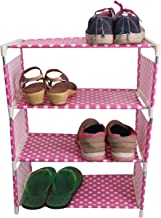 Mopi Pink Dots Metal, Plastic Collapsible Rack Shelf for Shoe/Books/Other House (3 Shelfs)