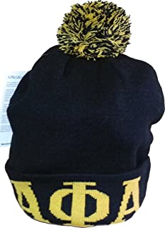 Buffalo Dallas Alpha Phi Alpha Mens Knit Cuff Beanie Cap with Ball [Black]