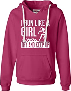 Womens I Run Like A Girl Try to Keep Up Funny Running Deluxe Soft Hoodie