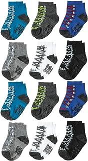 Reebok Infant & Toddler Boys Quarter Cut Socks with Nonslip Traction Grip (12 Pack)