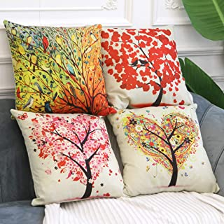 BPFY Birds and Trees Pillow Covers Set of 4 Cotton Linen Sofa Home Decor Throw Pillow Case Cushion Covers 18 X 18 Inch