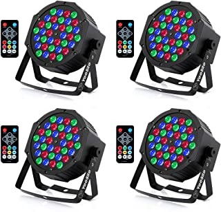 Stage Lights, YeeSite 36LEDs Par Can RGB Mixed Effect Stage Lighting Controlled by Remote and DMX, Up Lights for Wedding Church Event Christmas - 4 Pack
