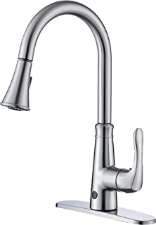 KNACK Touchless Kitchen Faucet with Pull Down Spray Head, Two Sensors Single Handle High Arc 2-Function Kitchen Sink Faucets, 1&3 Hole Deck Mount, Brushed Nickel PVD