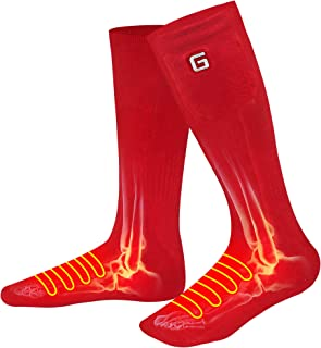 QILOVE Warm Rechargeable Battery Heated Socks,Winter Must-Have Outdoor Indoor Electric Foot Warmer Sox,Men Women Battery Powered Thermal Washable Socks for Camping Hunting Motorcycling