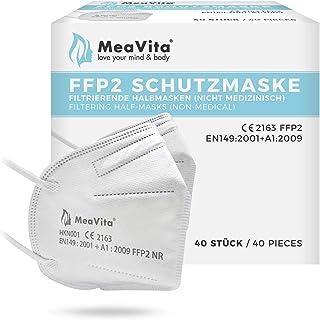 MeaVita FFP2 masker (40 stuks), EU CE-gecertificeerde mond- en neusbescherming volgens EN149:2001+A1:2009, adembeschermin...