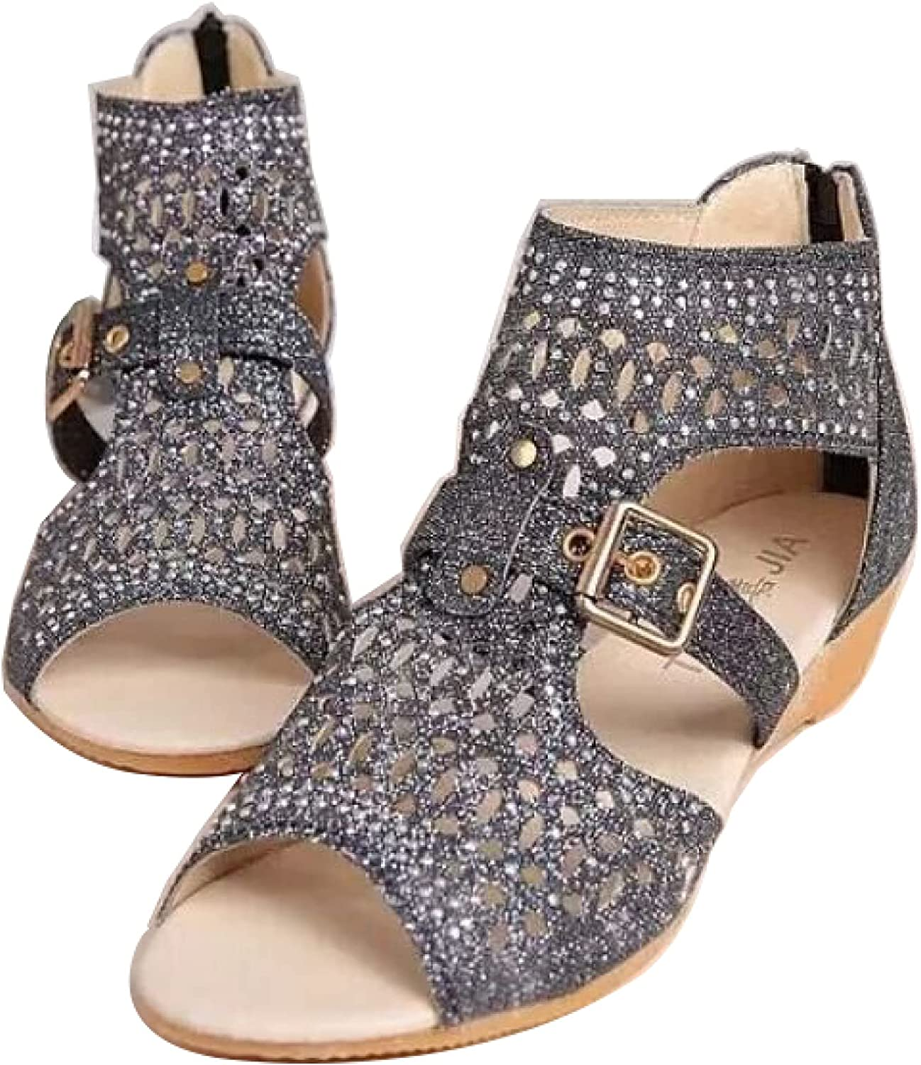 Gladiator Sandals for Women's, Summer Casual Hollow Buckle Strappy Vamp Open Toe Rhinestones Outdoor Wedge Shoes