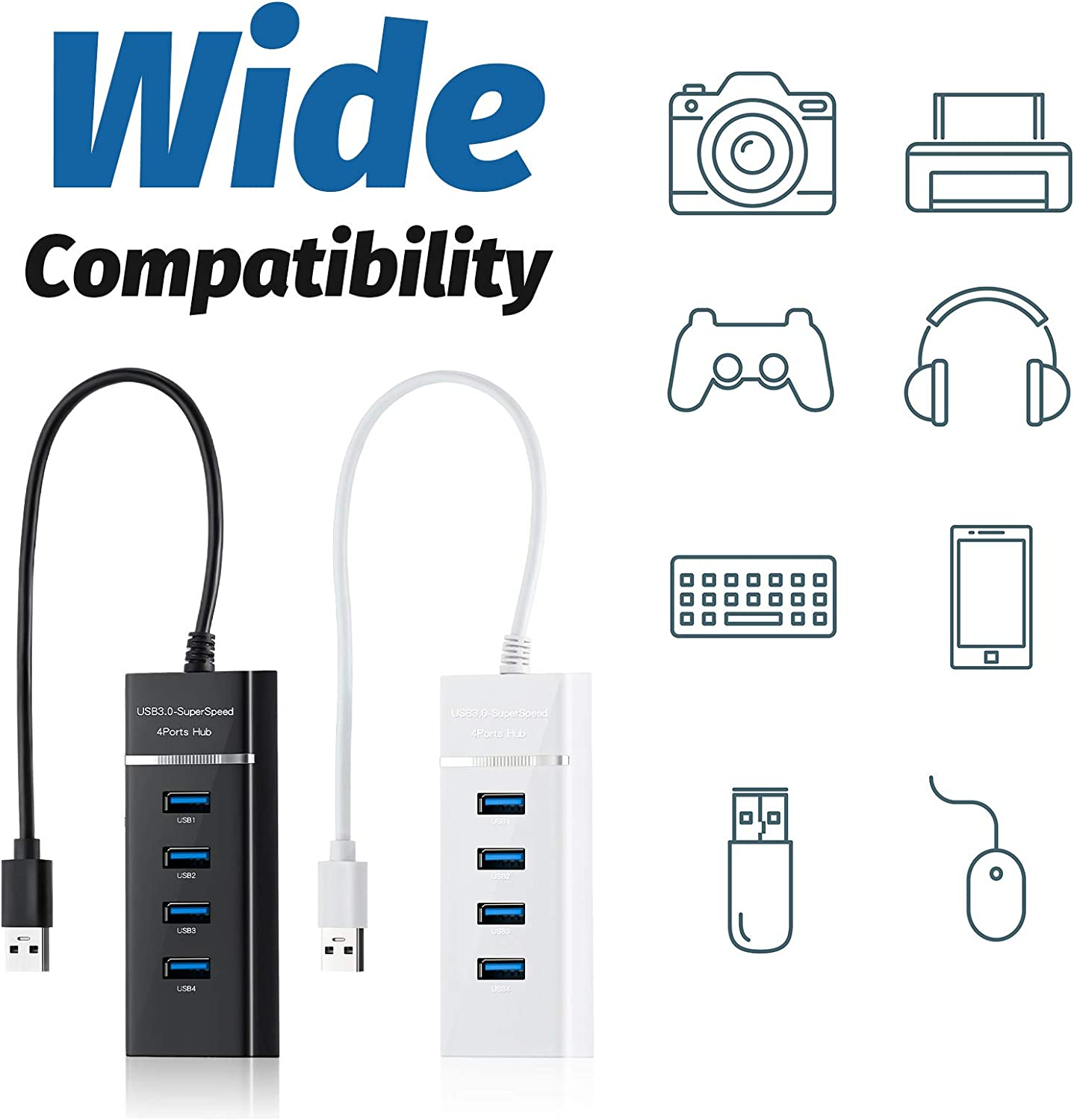 Konohan 4 Pieces 4-Port USB Hubs Portable USB Expander USB 3.0 Slim Data Hub with 30 cm/ 11.8 Inch Extended Cable Compatible with Windows 7/ Vista / XP and Other Operating Systems, Black and White