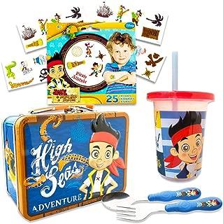 Jake and the Neverland Pirates Toddler Dinnerware Set - Flatware, Tumbler, Snack Tin, Temporary Tattoos (Disney Junior Dining Set)