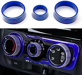 Xotic Tech 3pcs Aluminum Air Condition Switch Knob Volume Knob Trim Ring for Honda Fit Jazz 2014-2017 Blue