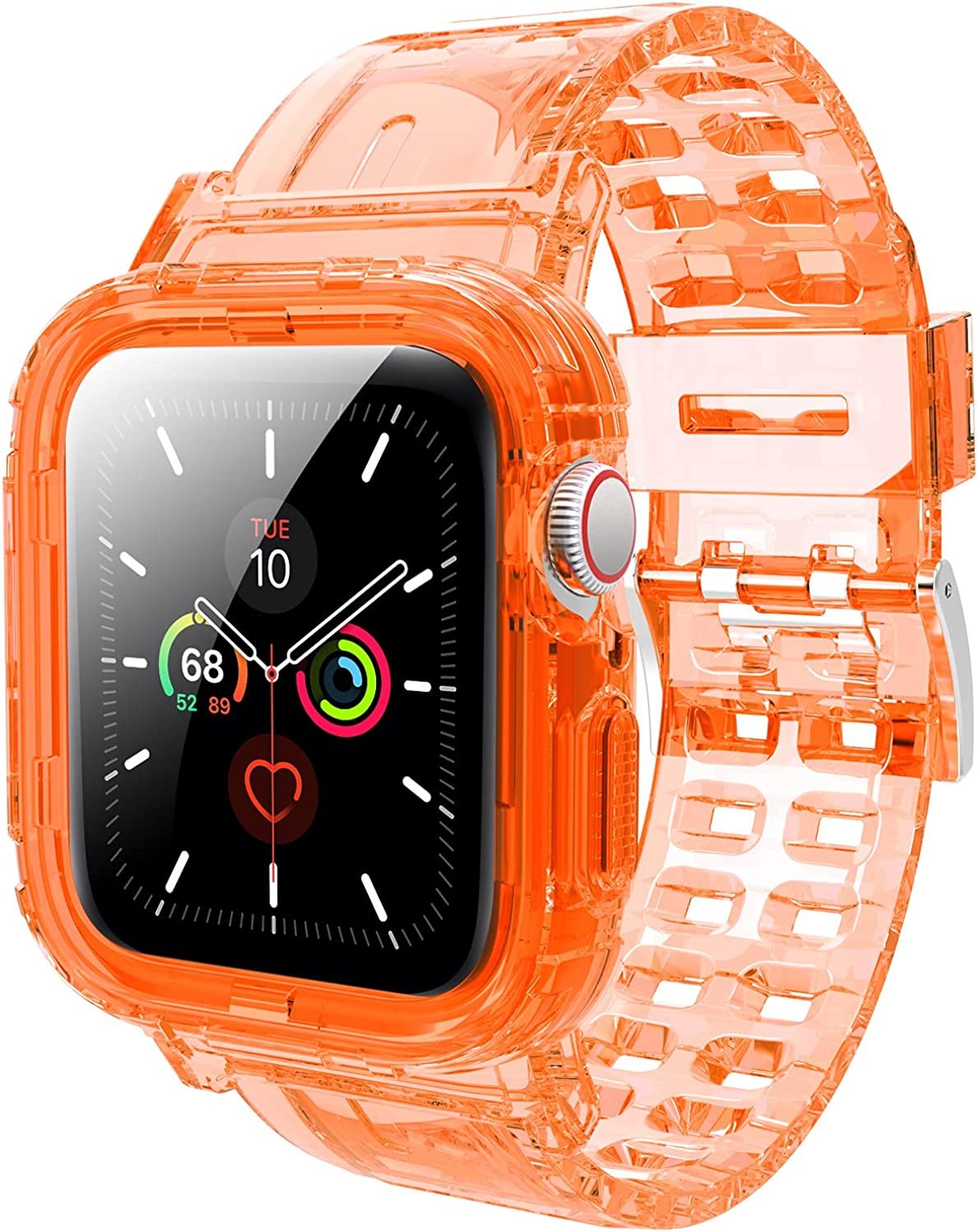 JXVM Band Designed for Apple Watch 44mm 42mm, Crystal Clear Men Women Sporty Protective Bumper Case with Premium Soft TPU Adjustable Strap Bands for Apple Watch Series 6/5/4/3/2