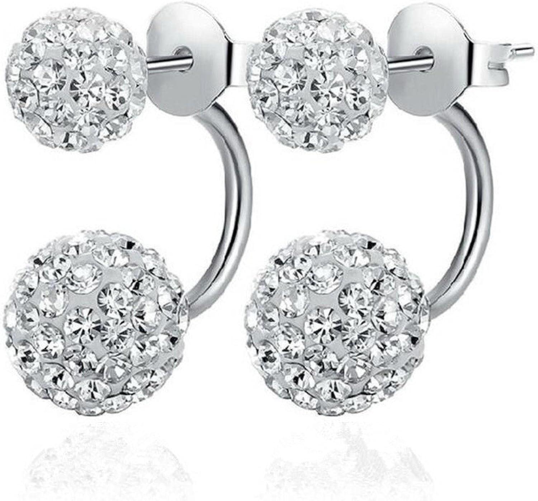 Korean Version Of Shambhala Round Ball Earrings Korean Women's Earrings Sweet Crystal A Two-Wear Ear Jewelry