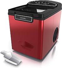 Arendo 722304980722 Machine à glaçons en acier inoxydable, Rouge métallique