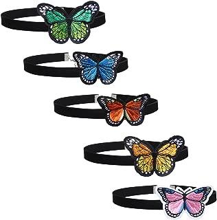 Tpocean 5 PCS Black Velvet Colorful Butterfly Choker Necklaces Women Girls 90s