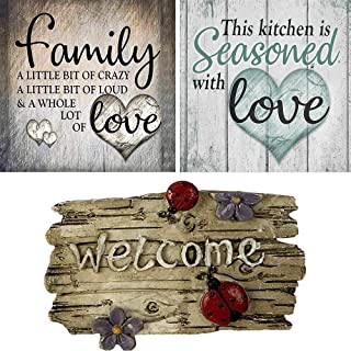 Maryya 3 Pack DIY 5D Diamond Painting Kit, Round Full Drill Crystal Rhinestone Embroidery Cross Stitch Arts Craft Canvas Supply for Home Wall Decor Adults and Kids (Diamond Painting)