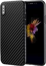 doupi UltraSlim Funda para iPhone X (iPhone 10) Carbon Fiber Look Fibra de Carbono Óptica, Finamente Estera Ligero Estuche Protección, Negro