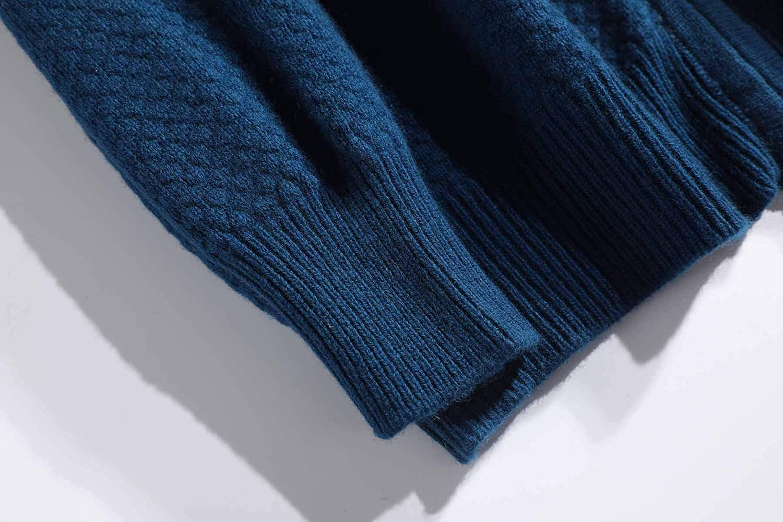 MeetMetro 100% Merino Cardigan Sweater for Men Full Zip Long Sleeve Casual & Loose Winter Wool Pullover Tops