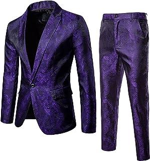 Men's Jacquard Dress Party Floral Suit Jacket Stylish Print Slim Fit Outfit One Button Suits Tuxedo Blazer for Wedding & Prom
