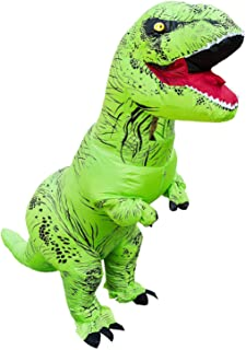 ASENVER ハロウィン 多種類 ET 相撲 恐竜 鶏 馬 カボチャ コスチューム 仮装 いたずら 変装スーツ コスプレ 着ぐるみ クリスマス会 おもしろ パフォーマンス道具 膨張式 すべて成人用 (ティラノサウルス(グリーン))