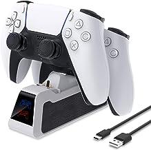 Suporte de carregador para controle sem fio PS5 DualSense, controlador MENEEA estação de carregamento duplo rápido com cab...