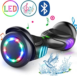 TOMOLOO Hoverboard with Bluetooth Speaker and LED Lights Self-Balancing Scooter UL2272..