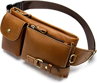 Cowhide Waist Fanny Pack-Genuine Leather and Slim with Adjustable Waistband Brown