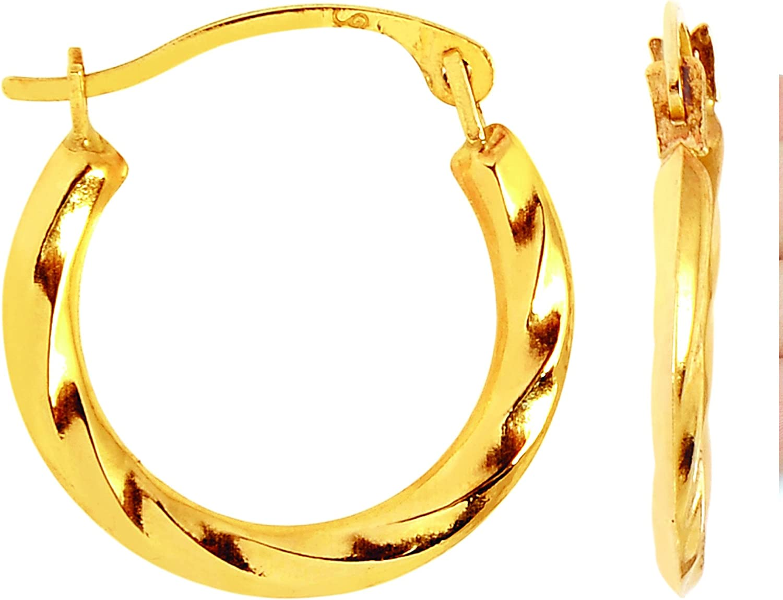 14k Yellow Gold Swirl Round Hoop Earrings, Diameter 12mm