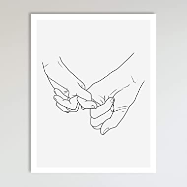 Pinky Promise, Grey and Black Holding Hands Minimalist Abstract Line Drawing Art, Black and Grey Contemporary Wall Art For Bedroom and Home Decor, Modern Boho Art Print Poster 11x14 Inches, Unframed