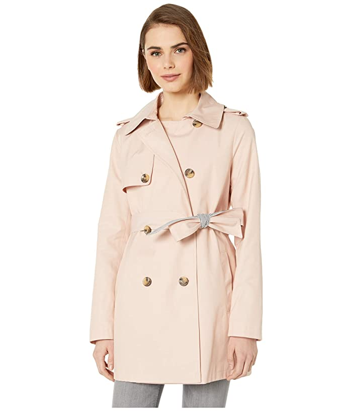Sam Edelman Double Breasted Trench w/ Stripe Detail Belt (Blush) Women