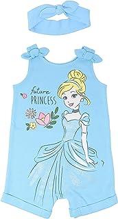 Disney Princess Romper and Headband Set: Ariel Cinderella Jasmine Tiana Aurora Belle
