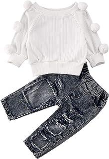 Bowanadacles Completo Neonata 3 Pezzi Felpa con Maniche Lunghe Pantaloni Fascia per Capelli Stampa di Lettere e Leopardo Casual Carino 0-4 Anni